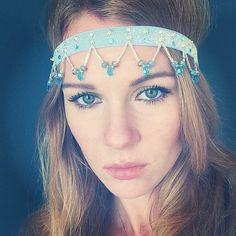 Elsa Frozen inspired Blue Crystal Shimmery Headband by Miss S-a Headbands