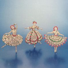 My favorite ballerinas all together in one shot, these three rare brooches by Van Cleef & Arpels were sold at auction at Sotheby's in 2002. Designed by Maurice Duvalet, they were largely inspired by two legendary dancers: the French dancer Maria Camargo and Russian ballerina Anna Pavlova. The earliest iterations were set with large rose-cut diamonds reportedly from the Spanish Crown Jewels.