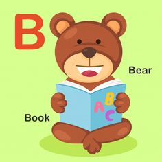 Isolated animal alphabet letter b-bear book vector image on VectorStock Dog Vector, Vector Free, Cartoon Bat, Cute Ginger, Numbers For Kids, English Lessons For Kids, Learning The Alphabet, Preschool Alphabet, Animal Alphabet