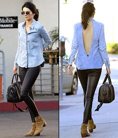 Kendall Jenner put a fresh twist on the chambray trend by rocking one with a giant keyhole in the back (plus leather leggings) on Jan. 4 in West Hollywood.
