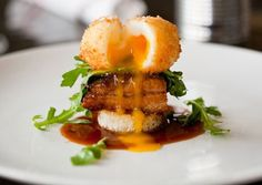 braised pork belly with a breaded fried egg
