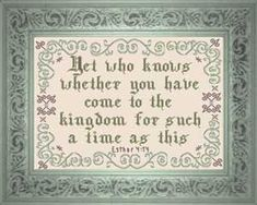 Esther (ESV) 14 For if you keep silent at this time, relief and deliverance will rise for the Jews from another place, but you and your father's house will perish. And who knows whether you have not come to the kingdom for such a time as this? Cross Stitch Charts, Cross Stitch Designs, Cross Stitch Patterns, Esther 4 14, Inspirational Gifts, You Are The Father, Word Of God, Beautiful Words, Custom Framing