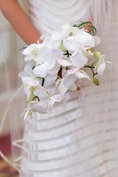 Cascade bouquet of white phalaenopsis orchids
