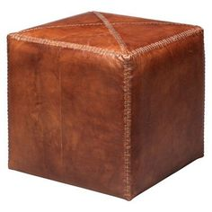 Canora Grey Gustavus Small Leather Cube Ottoman Upholstery: Tobacco