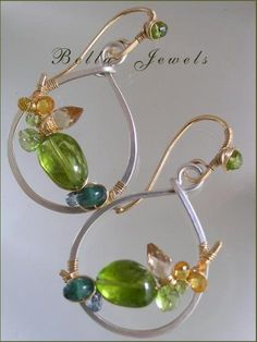August Summer...Peridot Champagne Citrine Apatite Mixed Metal Gold Filled Sterling Signature Original Arc Hoop Earrings