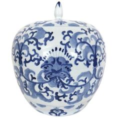 Chinese Blue & White Porcelain Ginger Jar (175 CAD) ❤ liked on Polyvore featuring home, home decor, ginger jars, blue and white ginger jar, chinese porcelain ginger jars, chinese home decor, porcelain ginger jar and blue white porcelain ginger jar