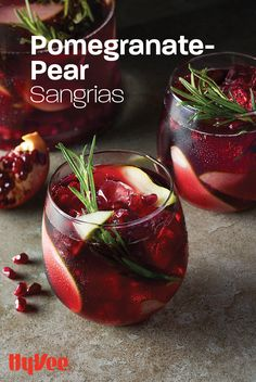 Our easy no-heat sangria utilizes late fall and winter produce! Layer flavors of pear, rosemary, and pomegranate with Cabernet Sauvignon red wine. Christmas Drinks, Holiday Drinks, Holiday Dinner, Party Drinks, Fun Drinks, Yummy Drinks, Beverages, Alcohol Drink Recipes, Sangria Recipes