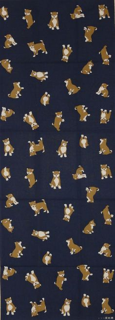 Shiba Inu Dogs on Navy Blue Motif Tenugui by kyotocollection (Craft Supplies & Tools, Fabric, Japanese fabric, tenugui, Japan, textiles, quilting, sewing, asian, shiba inu, Japanese dog, panel, Japanese art)