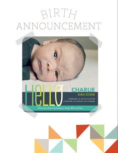 Birth Announcement page from our Free Printable Baby Book.