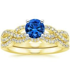 Blue Sapphire Infinity Bridal Set Engagement Ring - 18K Yellow Gold