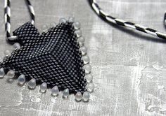 Grey and Black Beaded Triangle Necklace by ThreeFatesDesign, $22.00