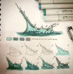 Drawing Tutorial [WATTER SPLAH FAST TUTORIAL] Sorry to didnt release new tutorials before but im soo busy with my work but i took time for release this short tutorial about watter splash fx draw th Drawing Techniques, Drawing Tips, Drawing Sketches, Painting & Drawing, Art Drawings, Deep Drawing, Sketching, Marker Drawings, Copic Drawings