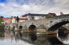 Stone Bridge in Písek, Czech Republic. This is the oldest surviving bridge in the Czech Republic.
