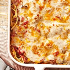 Quick and easy ingredients -- like canned veggies, mushroom soup, and shredded cheese -- take classic spaghetti from pasta dish to hearty casserole in a flash: http://www.bhg.com/recipes/casseroles/crowd-pleasing-holiday-casseroles/?socsrc=bhgpin031314spaghettibake&page=5