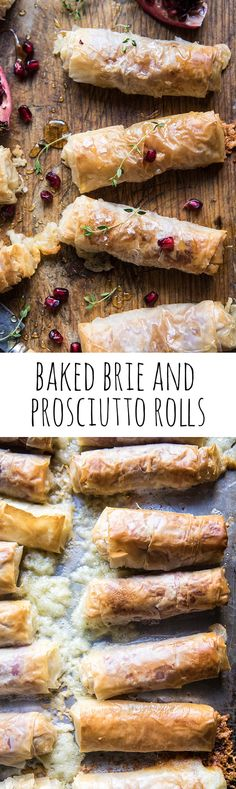 Baked Brie and Prosciutto Rolls If there was ever an appetizer that almost everyone will love, it's got to be these rolls. They're flakey, filled with Brie, salty prosciutto, and finished with a touch of sweetness! Finger Food Appetizers, Yummy Appetizers, Appetizers For Party, Finger Foods, Appetizer Recipes, Harvest Appetizers, Avacado Appetizers, Prociutto Appetizers, Elegant Appetizers