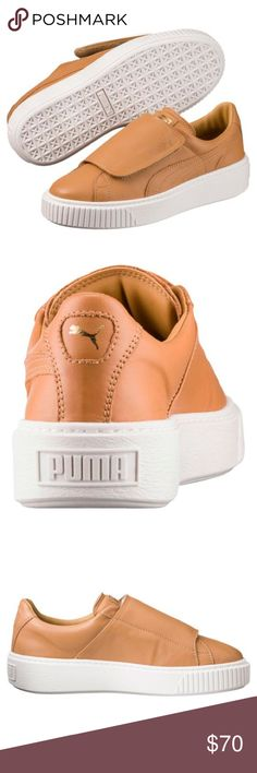 Basket Platform Big Strap Women's Sneakers Brand new with box tan leather Puma Sneakers. They are an 8 but fit like an 8.5 which is what I am listing them at. Puma advises to size down for this style.  PRODUCT DETAILS The Basket Platform is a fresh PUMA style and draws inspiration from 1990s grunge fashion, boasting a high outsole.  DETAILS Leather upper with oversized hook-and-loop strap Platform rubber outsole Puma Shoes Sneakers