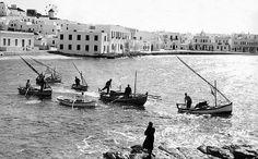 An old photo of Mykonos island, Greece Mykonos Island, Mykonos Greece, Athens Greece, Zorba The Greek, Old Time Photos, Places In Greece, Greek History, Greece Islands, Beautiful Islands