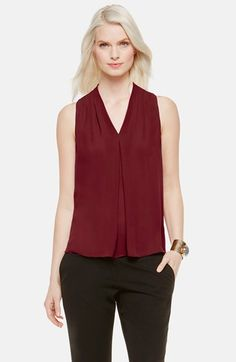 Free shipping and returns on Vince Camuto Sleeveless Pleated V-Neck Blouse (Regular & Petite) at Nordstrom.com. Pleats at the shoulders and the base of the V-neckline bring billowy ease to a sleeveless blouse cut from fluid crepe saturated in lush new colors.