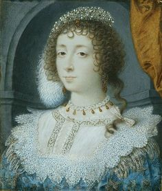 "A painting of Queen Henrietta Maria by painter, John Hoskins in 1632. The hairstyle is called a Hurluberlu, which was made famous by Queen Henrietta Maria. ""In this style, hair was parted down the middle, flattened, and curled into tight ringlets around the crown, on each side of the part. The longer pieces of hair in the back were curled and left loose."""