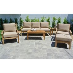 Willow Creek Designs Huntington 6 Piece Deep Seating Group with Cushion Fabric: Canvas Brick