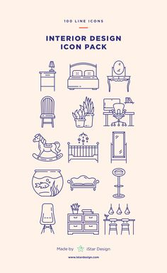 Furniture icon pack. Interior design line icons. Series of 100 pixel-perfect icons, created by influence of interior design, construction & repair.