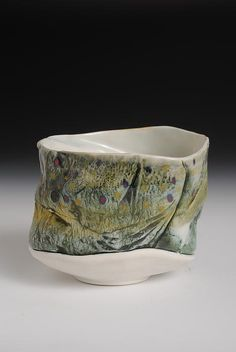 Mark Chuck, Kingsley, PA - Yunomi Tea Bowl Hand Painted Brook Trout Tea Bowl