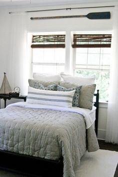 oars as curtain rods!.  traditional bedroom by The Lettered Cottage