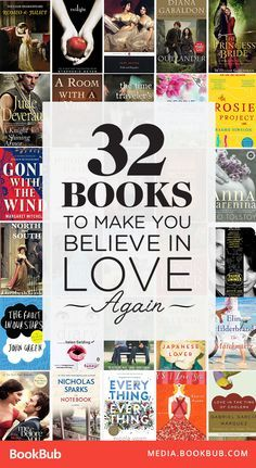32 books to read that will make you believe in love again! These uplifting reads feature romantic classics, young adult bestsellers, emotional women's fiction, and more!   Heartwarming romance novels   Love stories to read   Books about love