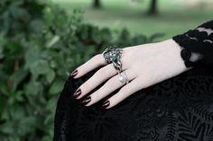 Regal Rose Rings - sterling silver, designed in our studios. #goth #rings #medusa #details #green #garden #jewellery