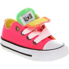 Converse Double tongue ox low kids 12+ months mrl/pink smu (16 CAD) found on Polyvore