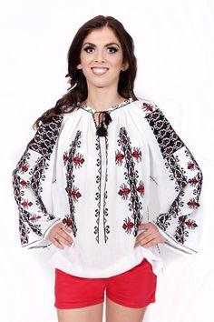 Ie romaneasca traditionala model Gargarita Ethnic, Costume, Embroidery, Tank Tops, Long Sleeve, Sleeves, How To Make, Beauty, Beautiful