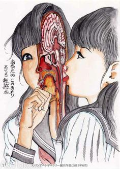"""Big collection of Shintaro Kago's """"Funny Girl"""" watercolor paintings that have been shown at exhibitions in Tokyo. Lots of exploding heads, polka dots and bubbles, inventive guro, and some cute animals for good measure. Signed inside the front cover. Bizarre Kunst, Bizarre Art, Ero Guro, Horror Themes, Creepy Pictures, Scary Art, Art Japonais, Manga Artist, Horror Art"""