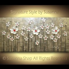 ORIGINAL Abstract Contemporary Heavy Texture Silver Red White Daisies Impasto Landscape Painting by Susanna 48x24 Ready to Hang