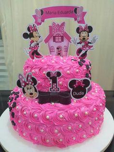 Infantiles Baby Birthday Cakes, Barbie Birthday, Minnie Birthday, Little Girl Birthday, Minni Mouse Cake, Minnie Cake, Minnie Mouse Birthday Decorations, Minnie Mouse Theme Party, Buttercream Cake Designs
