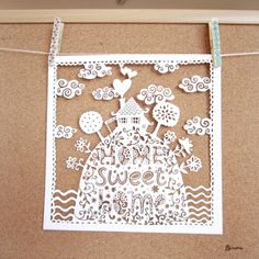 cute and adorable home sweet home papercut