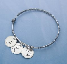 Adjustable Bangle Stacking Bracelet with Initials, Twisted