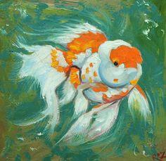 Fish portrait painting 39 12x12 inch original oil by RozArt