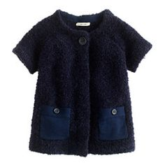 Girls' short-sleeve fuzzy cardigan