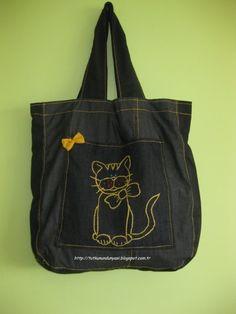 Kedi işlemeli siyah kot çanta