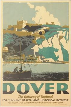 Vintage Travel Poster: The White Cliffs of Dover, England Silkscreen print styles for WIU/Macomb t-shirts art night events Posters Uk, Railway Posters, Vintage Travel Posters, England Travel Poster, Party Vintage, Vintage Ski, Dover England, White Cliffs Of Dover, Dover White