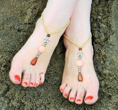 Barefoot Sandals, Beach Sandals, Beaded Barefoot Sandals, Bellydance Jewelry, Pool Barefoot Sandals, Bridal Foot Jewelry, Free Shipping by SawItBoughtIt on Etsy