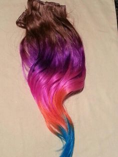 100% Pastel human  clip in hair extensions. Chestnut brown,purple, pink, coral and till.