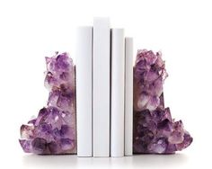 Bookends, Home Accessories, Chunky Amethyst Bookends // Healing and calming, Amethyst is believed to protect and soothe the mind. Wear it to support your endeavors, relieve anxie. Sweet Home, Decoration Inspiration, All Things Purple, Home And Deco, Home Look, My New Room, Elle Decor, My Dream Home, Interior And Exterior