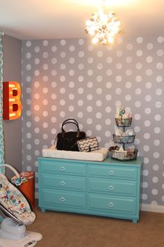 Project Nursery - Gray and White Polka Dot Nursery Wall