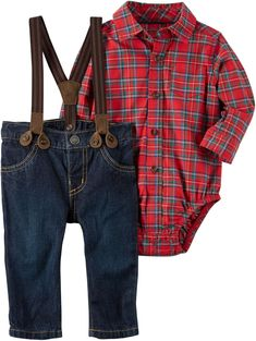 66fe8eb8c Carters Baby Boys 3 Piece Plaid Dress Me up Set 3 Months * Be certain to