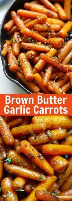 Brown Butter Garlic Honey Roasted Carrots – the best roasted carrots ever with. - Brown Butter Garlic Honey Roasted Carrots – the best roasted carrots ever with lots of garlic, br - Honey Roasted Carrots, Cooked Carrots, Carrots Side Dish, Roasted Potatoes And Carrots, Good Food, Yummy Food, Tasty, Awesome Food, Vegetable Side Dishes
