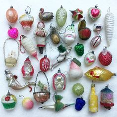 My collection of antique Xmas ornaments for my German feather tree.