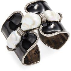 Arthur Marder Fine Jewelry Women's Diamond, Tanzanite & Pearl Cuff... ($1,935) ❤ liked on Polyvore featuring jewelry, bracelets, black, diamond jewelry, pearl bangles, tanzanite jewellery, cuff bangle bracelet and diamond bangles
