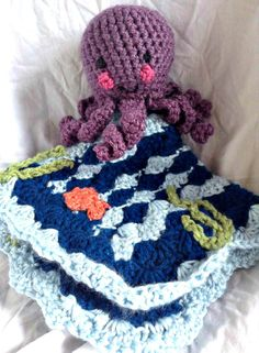 Ocean Security Blanket Octopus Lovey Nautical by SimplyServing, $25.00