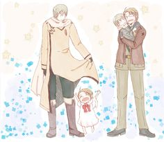 Hetalia - Russia, little!America, America, and little!Russia. Too precious for words to express.